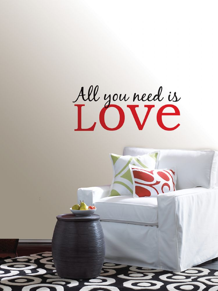 all you need is love quote wall art sticker. Black Bedroom Furniture Sets. Home Design Ideas