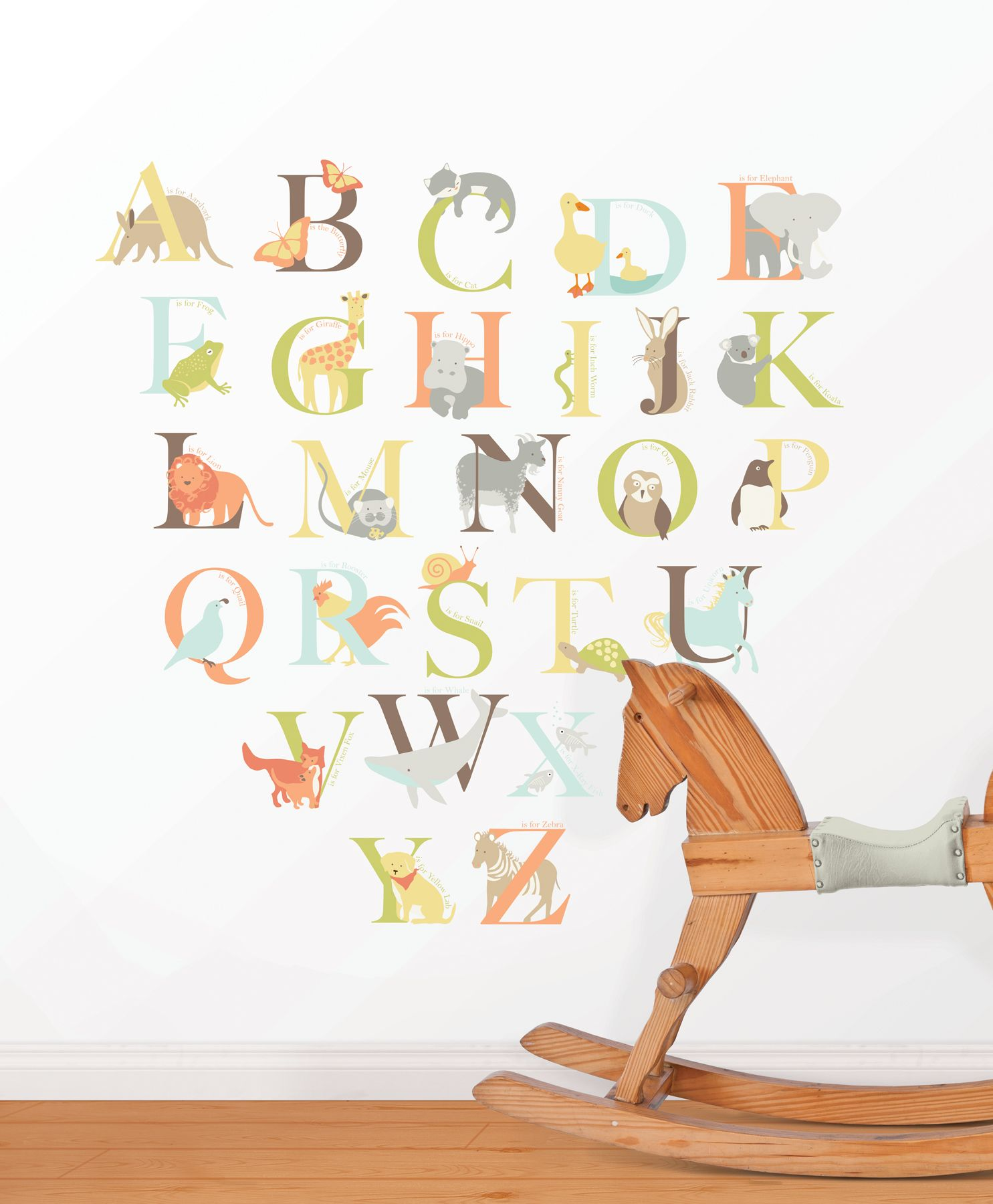 Alphabet zoo wall art sticker kit for Alphabet wall mural