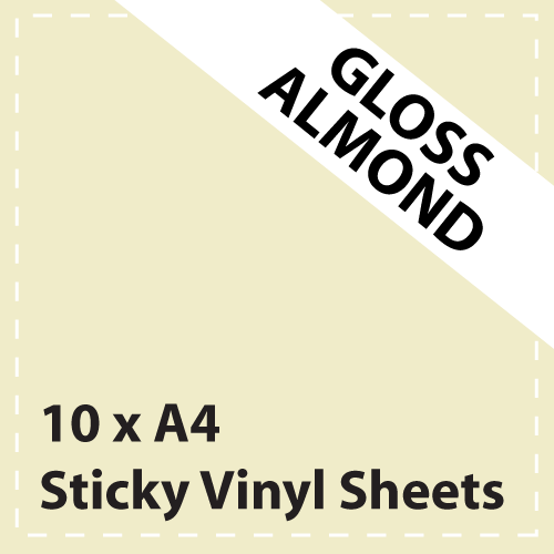 10 x A4 Gloss Almond Cream Sticky Vinyl Sheets - Craft Robo, CriCut & Crafts