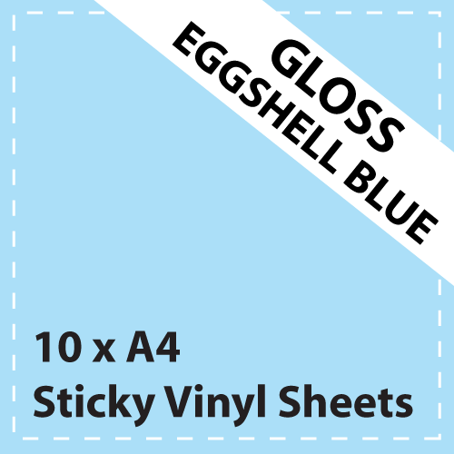 10 x A4 Gloss Eggshell Blue Sticky Vinyl Sheets - Craft Robo, CriCut & Crafts (1)