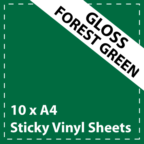 10 x A4 Gloss Forest Green Sticky Vinyl Sheets - Craft Robo, CriCut & Crafts