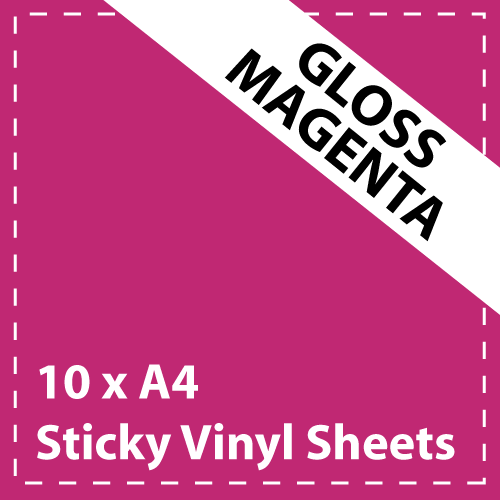 10 x A4 Gloss Magenta Sticky Vinyl Sheets - Craft Robo, CriCut & Crafts (1)
