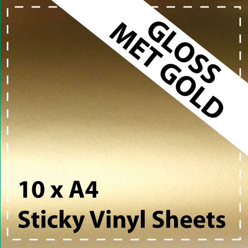 10 x A4 Gloss Mettalic Gold Sticky Vinyl Sheets - Craft Robo, CriCut & Crafts