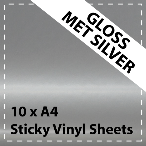 10 x A4 Gloss Mettalic Silver Sticky Vinyl Sheets - Craft Robo, CriCut & Crafts