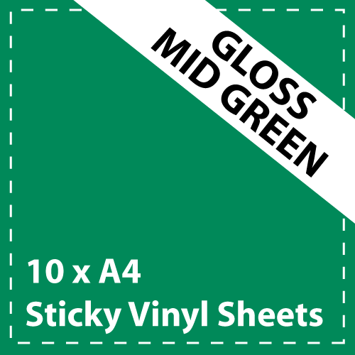10 x A4 Gloss Mid Green Sticky Vinyl Sheets - Craft Robo, CriCut & Crafts