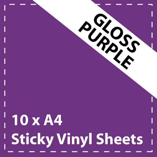 10 x A4 Gloss Purple Sticky Vinyl Sheets - Craft Robo, CriCut & Crafts