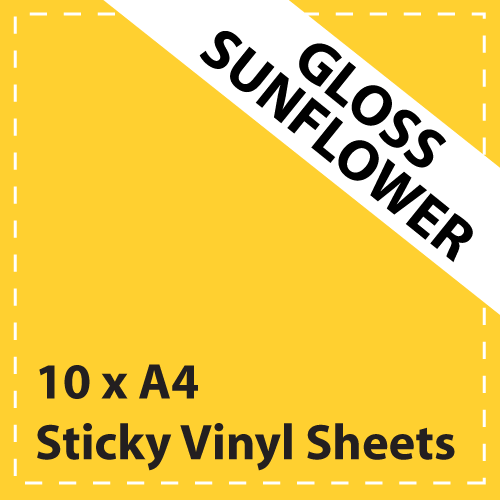 10 x A4 Gloss Sunflower Yellow Sticky Vinyl Sheets - Craft Robo, CriCut & Crafts