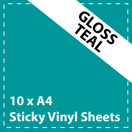 10 x A4 Gloss Teal Sticky Vinyl Sheets - Craft Robo, CriCut & Crafts