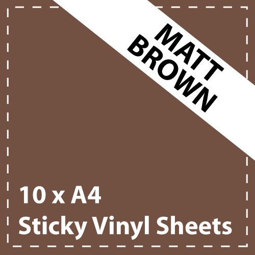 10 x A4 Matt Brown Sticky Vinyl Sheets - Craft Robo, CriCut & Crafts