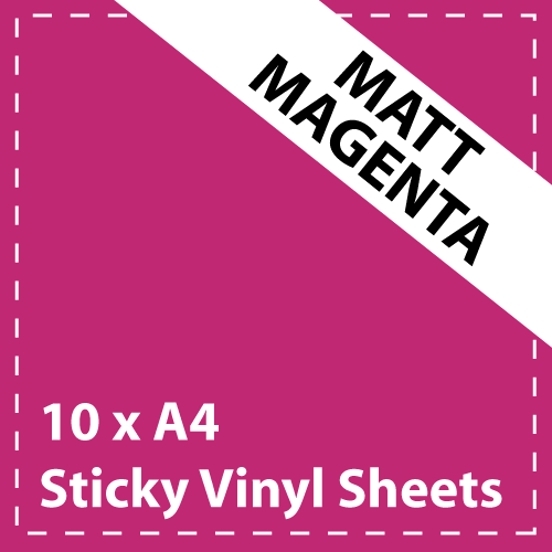 10 x A4 Matt Magenta Sticky Vinyl Sheets - Craft Robo, CriCut & Crafts