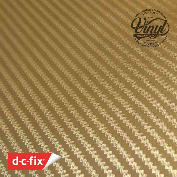 3D Gold Carbon Fibre Vinyl Wrap, (flexible with Air Release Adhesive)