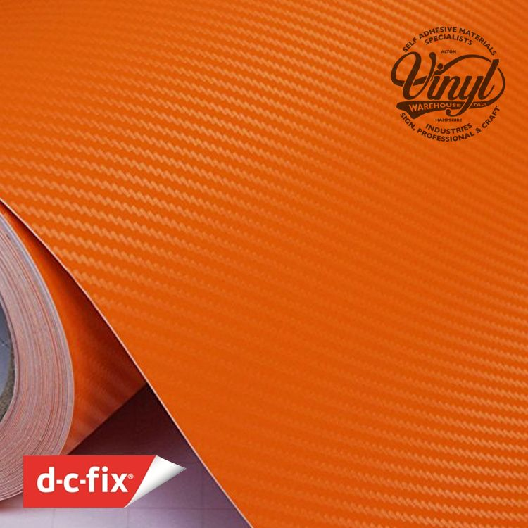 3D Orange Carbon Fibre Vinyl Wrap, (flexible with Air Release Adhesive)