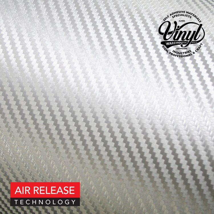 3D Silver Grey Carbon Fibre Vinyl Wrap, (flexible with Air Release Adhesive)