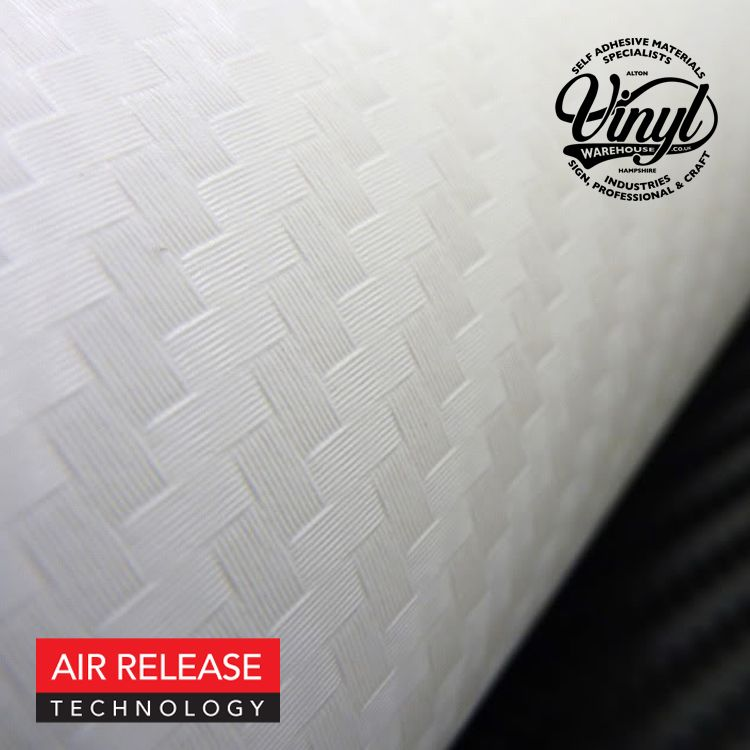 3D White Carbon Fibre Vinyl Wrap, (flexible with air release adhesive)