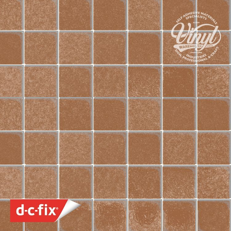 45cm Brown Tile with Silver Inlay Sticky Back Vinyl (280-3221) Lengths from 1m to 15m
