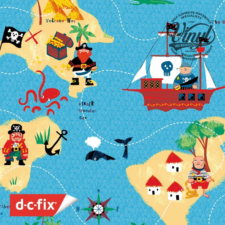 45cm Pirate Jack Print Sticky Vinyl Fablon (200-3233) Cut to size from 1 to 15 metres