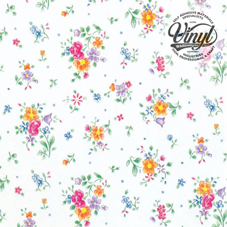45cm Printed Flower Sticky Vinyl Fablon (200-2494) Cut to size from 1 to 15 metres