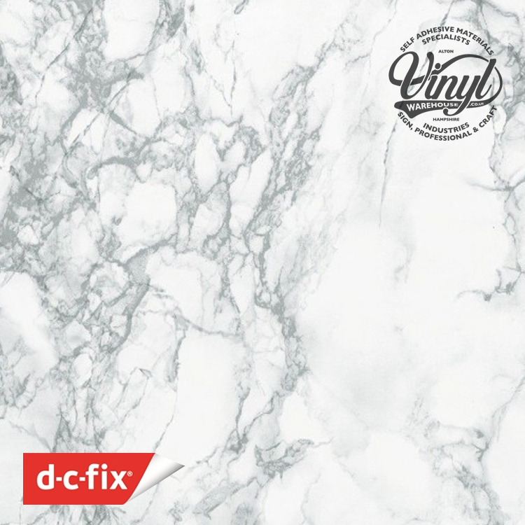 67cm White/Grey Marble Sticky Back Vinyl (200-8095) Lengths from 1m to 15m (1)