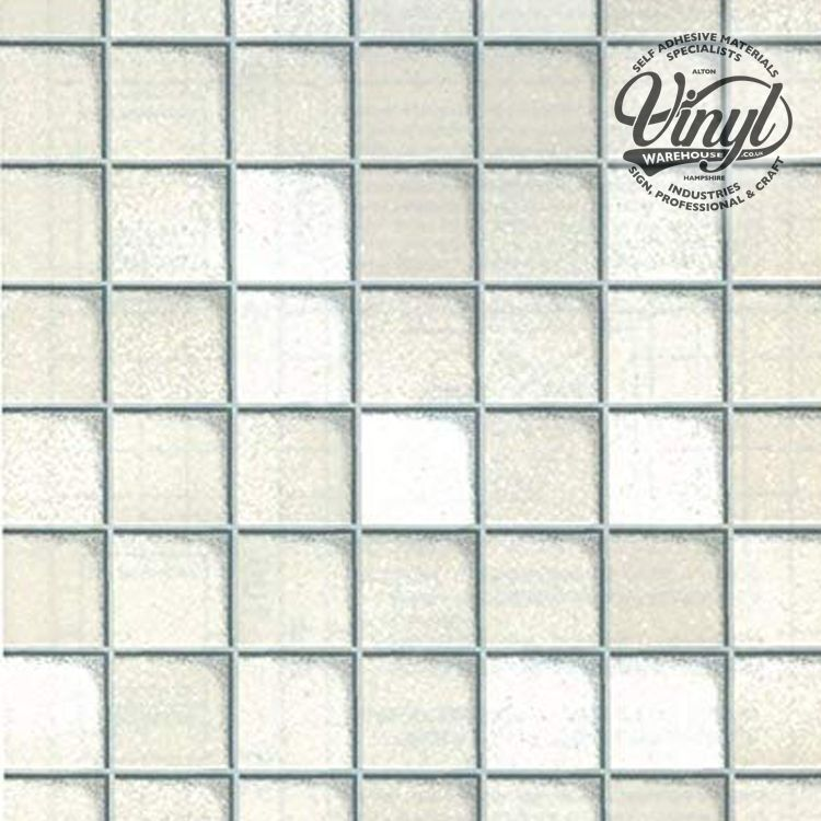 67cm x 2m Small White Tile Sticky Back Vinyl (FAB11512)