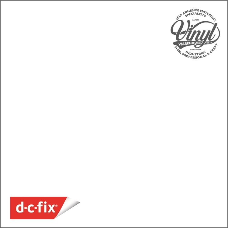 90cm  D-C-Fix 100 micron  Gloss White RAL 9016 Sticky Back Vinyl (200-5145) Lengths from 1m - 15m