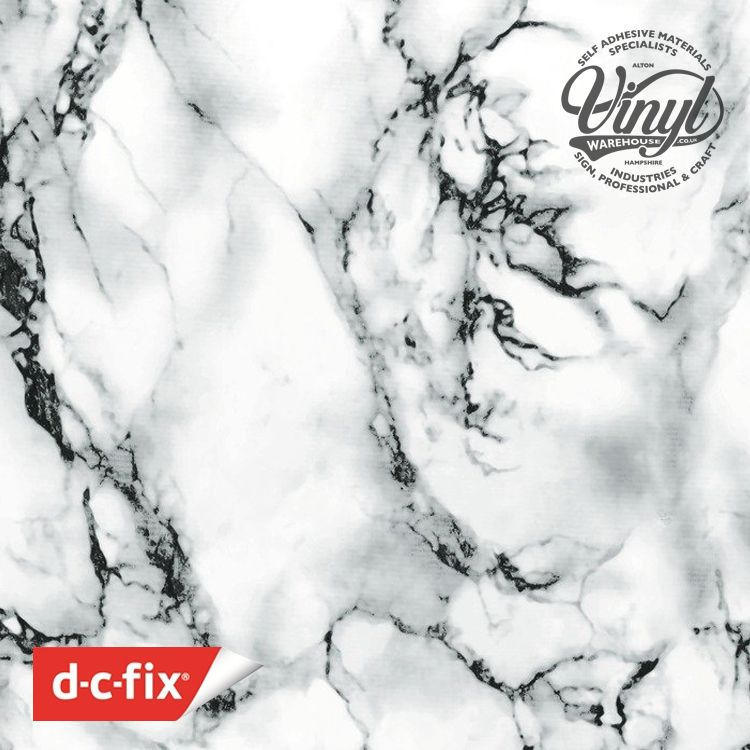 90cm White/Black Marble Sticky Back Vinyl (200-5277) Lengths from 1m to 15m