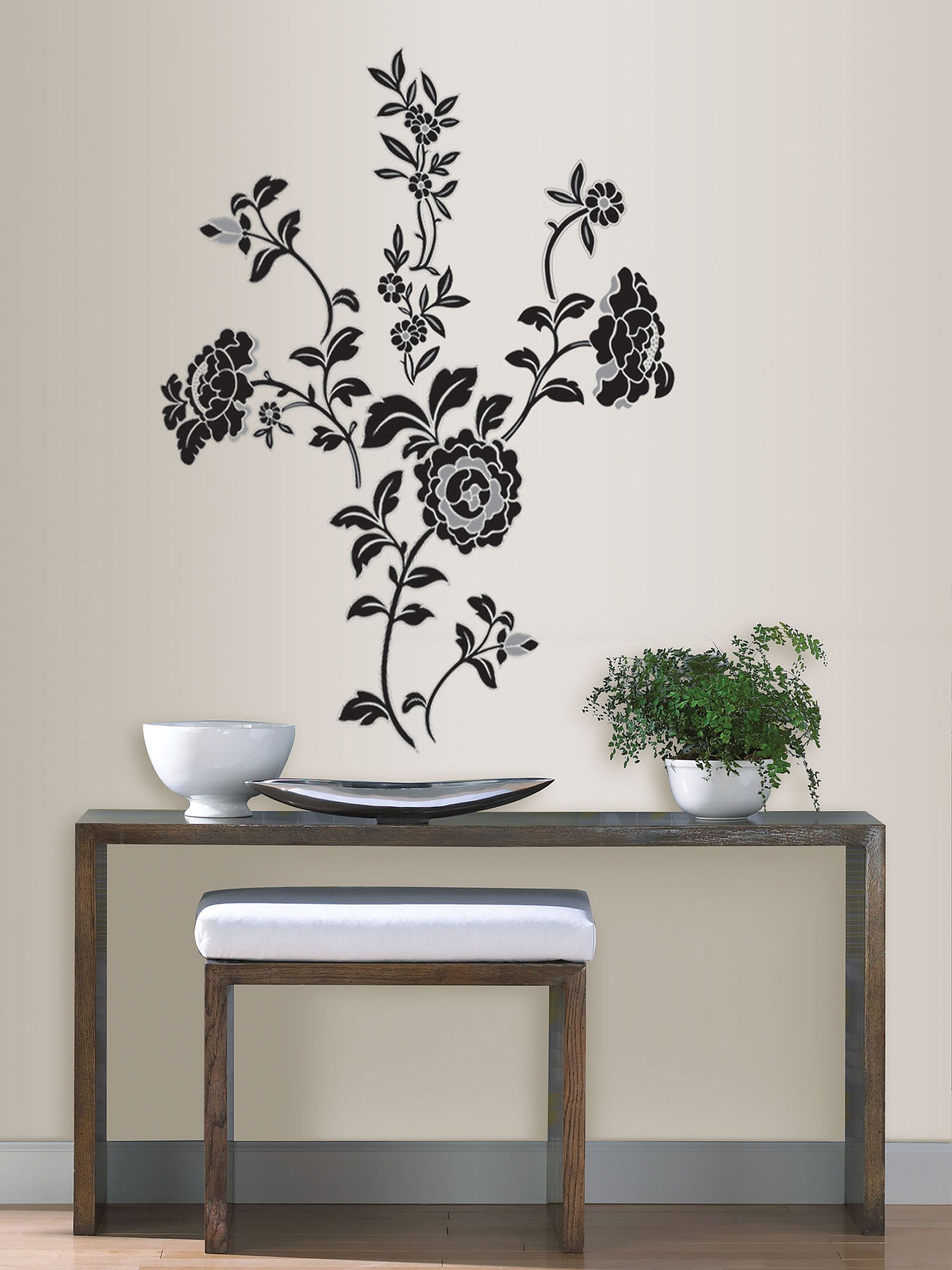 vinyl wall decals brocade black floral wall sticker kit 29612