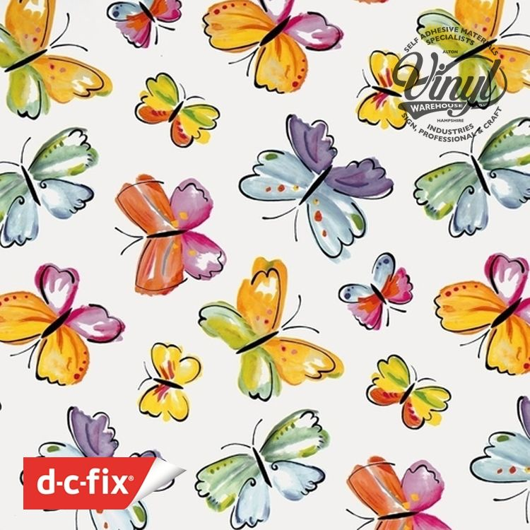 Colourful Butterfly Sticky Vinyl (346-0377) 45cm x 2m
