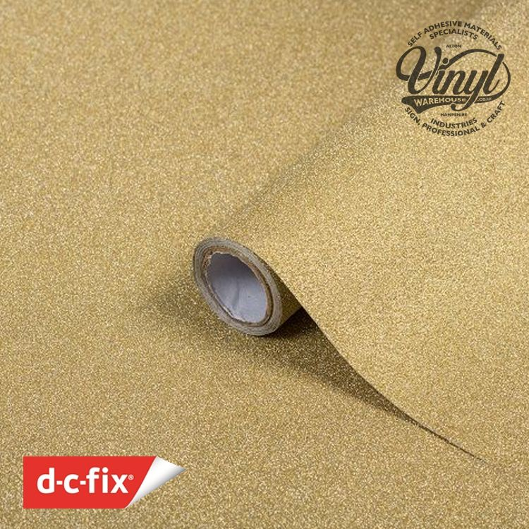 D-C-Fix Gold Glitter Sticky Back Craft Vinyl (341-8014) 67cm x 2m