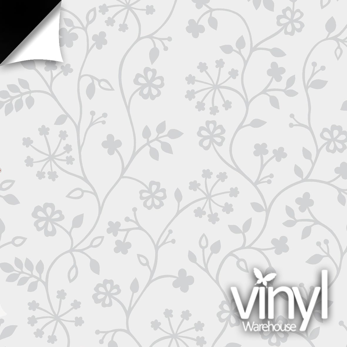 Floral White Vine Static Decorative Window Film 338 5013