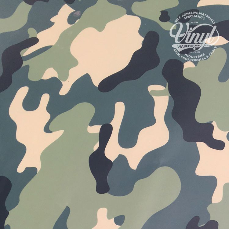 green camouflage self adhesive vinyl wrap flexible with air release