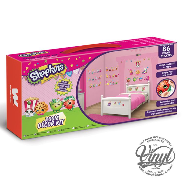 Shopkins Colourful Wall Decor Sticker Kit - 86 Piece - 44227